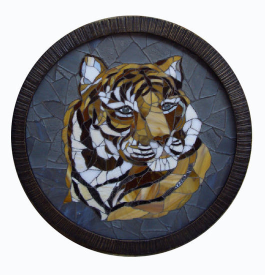 """Животные ручной работы. Ярмарка Мастеров - ручная работа. Купить Панно-мозаика """"Тигр"""". Handmade. Картины и панно, тигр"""
