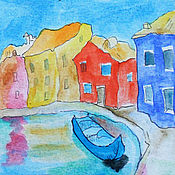 Картины и панно handmade. Livemaster - original item Murano Small watercolor of Venice. Handmade.