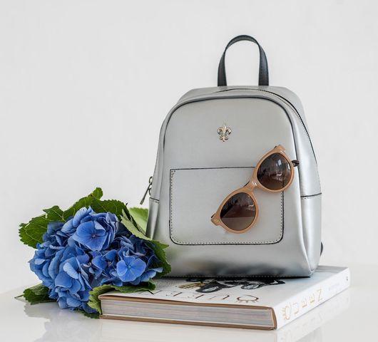 Рюкзаки ручной работы. Ярмарка Мастеров - ручная работа. Купить Кожаный рюкзак Oriol. Handmade. Серебряный, рюкзачок, рюкзак для девушки