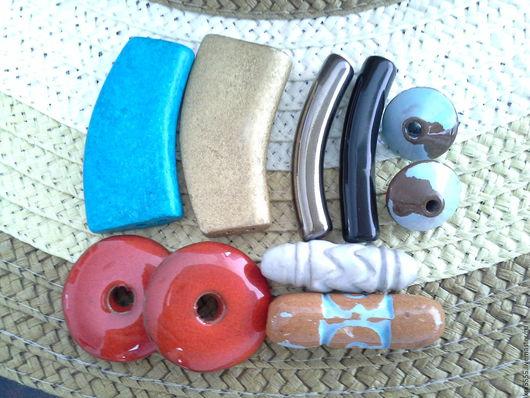 Для украшений ручной работы. Ярмарка Мастеров - ручная работа. Купить Греческая керамика, разделитель на две нити, трубочки, юла, столбики. Handmade.