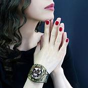handmade. Livemaster - original item Leather and ceramic bracelet