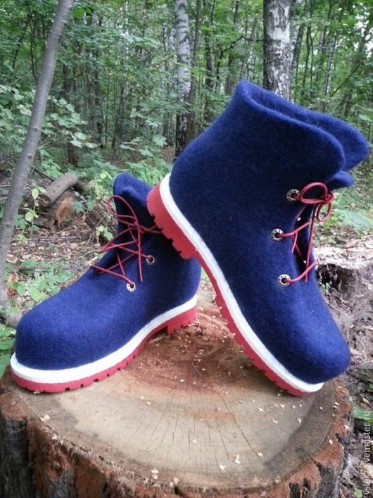 Обувь ручной работы. Ярмарка Мастеров - ручная работа. Купить Ботинки зимние. Handmade. Тёмно-синий, войлочная обувь