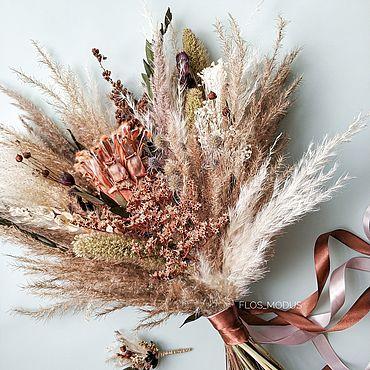 Цветы и флористика ручной работы. Ярмарка Мастеров - ручная работа Букеты: Модный букет из сухоцветов. Handmade.