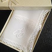 Аксессуары handmade. Livemaster - original item Handkerchief women`s chiffon lace narrow monogram. Handmade.