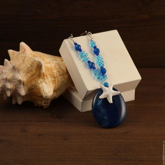 """Кулоны, подвески ручной работы. Ярмарка Мастеров - ручная работа. Купить Кулон """"Синее море"""". Handmade. Синий, чешское стекло"""