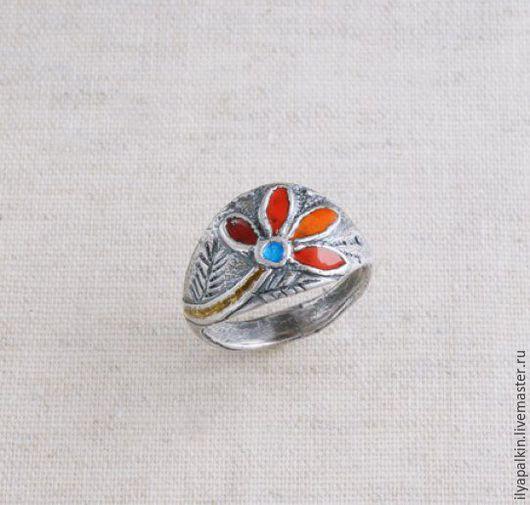 Кольцо из серебра Нк-2  Серебро, горячая эмаль. Автор: Вера Палкина