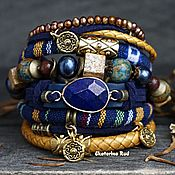 Украшения handmade. Livemaster - original item Leather and textile bracelet