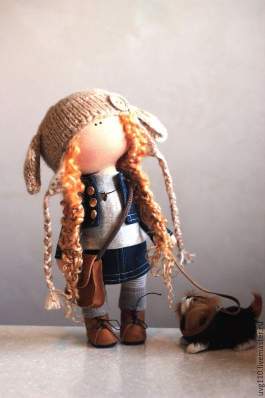 Коллекционные куклы ручной работы. Ярмарка Мастеров - ручная работа. Купить Кукла с собачкой. Handmade. Коричневый, джинсовая ткань, собака
