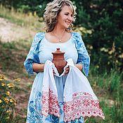 Одежда ручной работы. Ярмарка Мастеров - ручная работа SS`18 НОВИНКА!  Голубое платье с вышивкой. Handmade.