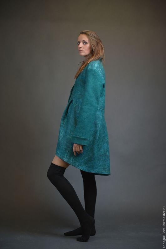 Верхняя одежда ручной работы. Ярмарка Мастеров - ручная работа. Купить Пальто-сюртук. Handmade. Тёмно-зелёный, пальто демисезонное