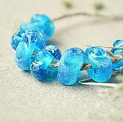 Украшения ручной работы. Ярмарка Мастеров - ручная работа Римские голубые бусины - лэмпворк для браслета в стиле пандора. Handmade.