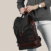 Сумки и аксессуары ручной работы. Ярмарка Мастеров - ручная работа Кожаный рюкзак Черный с рыжим. Handmade.
