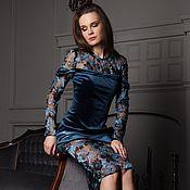 Одежда handmade. Livemaster - original item Feminine dress from Frederick`s of Italian embroidery and velvet. Handmade.