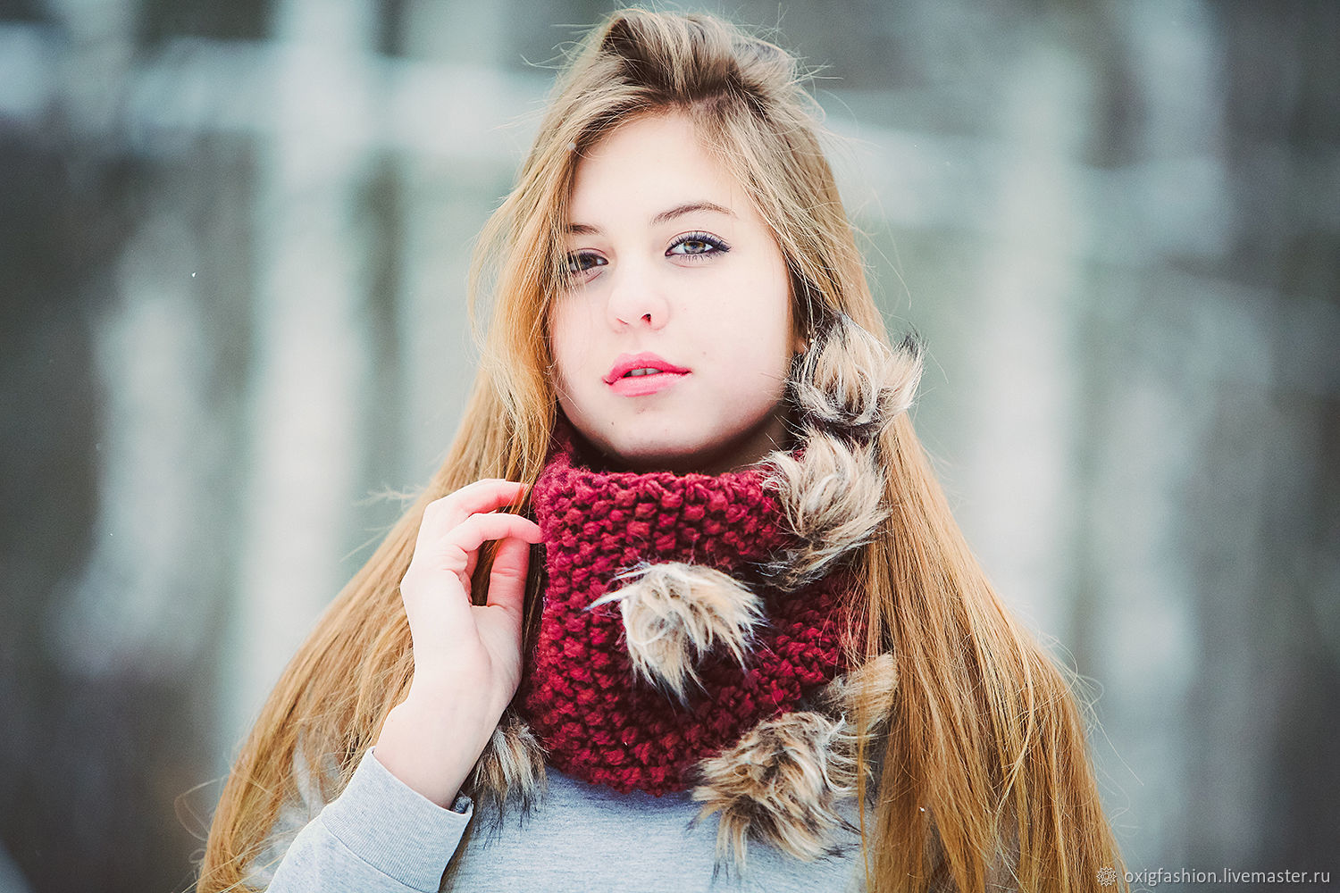 Warm winter wool original cherry burgundy scarf with artificial fur ho, Scarves, Moscow,  Фото №1