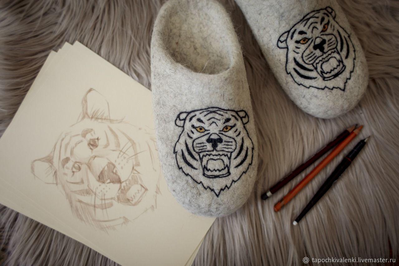 Валяные тапочки Тигр, Тапочки, Пушкино,  Фото №1
