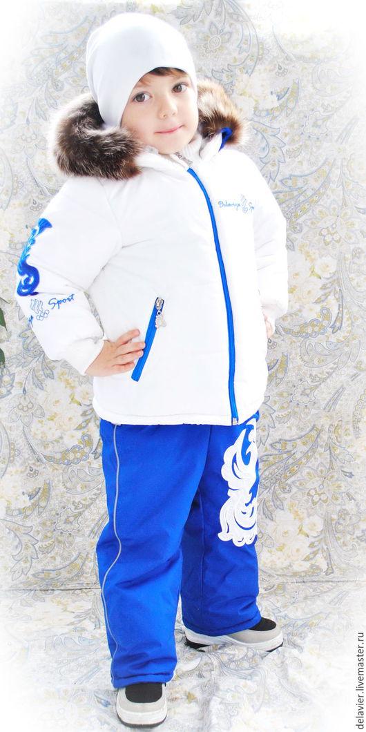 Одежда для мальчиков, ручной работы. Ярмарка Мастеров - ручная работа. Купить Зимний комплект в стиле олимпийской сборной-2. Белый василек.. Handmade.