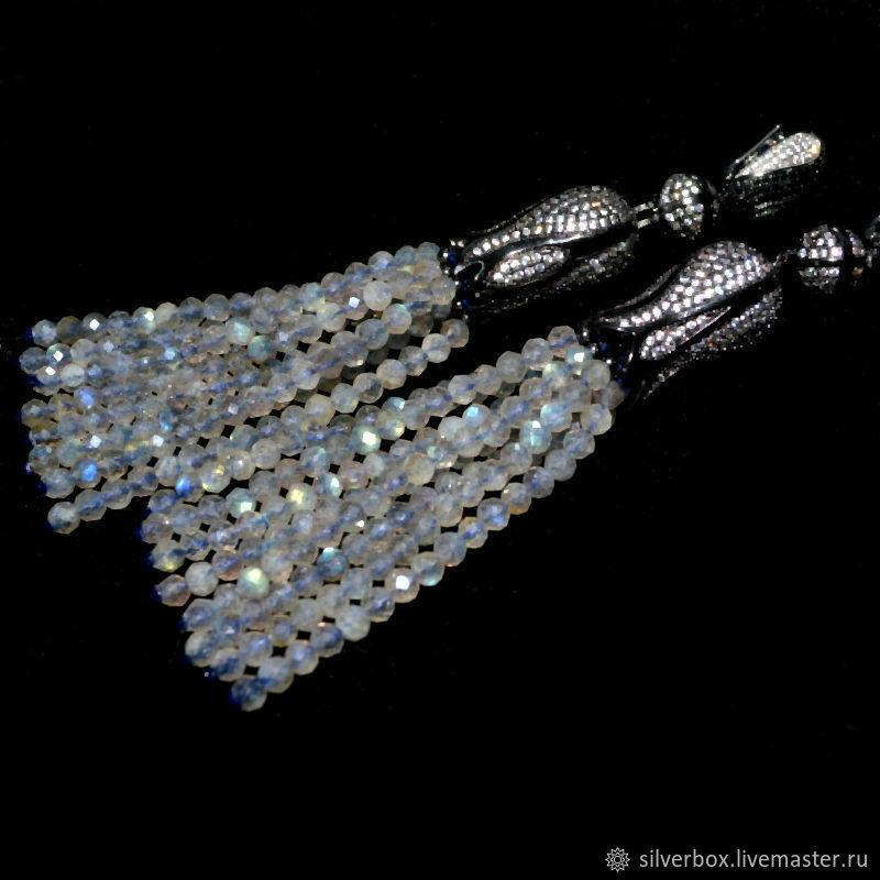 Labradorite tassel earrings BLACK TULIPS, Tassel earrings, Moscow,  Фото №1