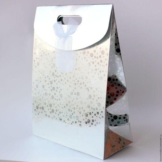 """Упаковка ручной работы. Ярмарка Мастеров - ручная работа. Купить Пакет с клапаном 24х32х10,5 см """"Перламутровый"""", серебро. Handmade."""