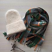 Аксессуары handmade. Livemaster - original item Hat and scarf set peach green brown. Handmade.