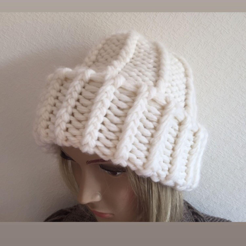 Knitted hat. Body cap Pumpkin. White cap, Caps, Zelenograd,  Фото №1