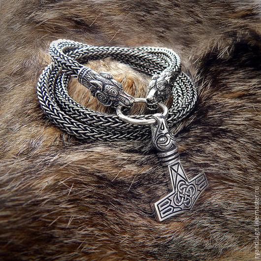 Молот Торра и Серебряная цепь Волки Подарок Мужчине на день рождения