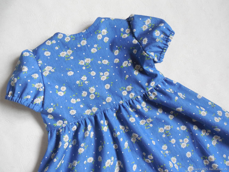 Сестренкам. Платье из джинсовой ткани в цветочек