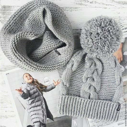 Шапки и шарфы ручной работы. Ярмарка Мастеров - ручная работа. Купить Комплект детский шапка + снуд. Handmade. Серый
