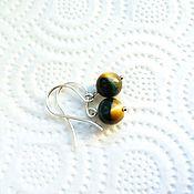 Украшения handmade. Livemaster - original item Silver earrings with tiger eye. Handmade.