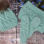 Аксессуары handmade. Livemaster - original item Hat, two-turn Snood and mint-colored mittens. Handmade.