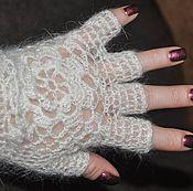 Аксессуары ручной работы. Ярмарка Мастеров - ручная работа Митенки, перчатки отрезные из пуха. Handmade.
