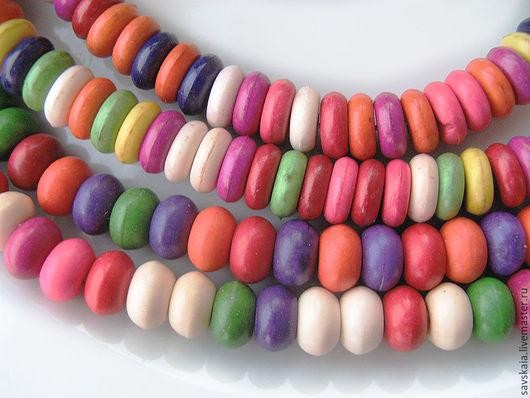 Бусины из бирюзы (имитация), плоские,, смешанный цвет