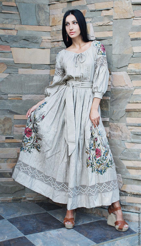 Купить льняное платье с вышивкой