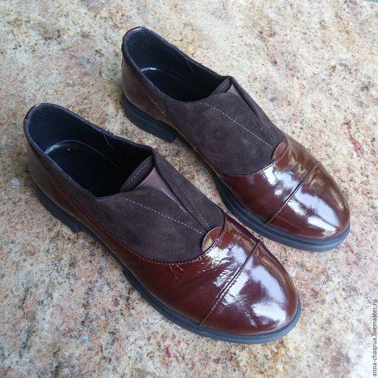 Обувь ручной работы. Ярмарка Мастеров - ручная работа. Купить Женские оксфорды Anna Chaqrua. Handmade. Коричневый, обувь на осень
