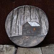 Посуда ручной работы. Ярмарка Мастеров - ручная работа Тарелка про лес и дом. Handmade.
