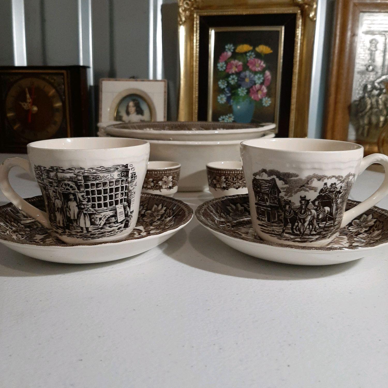 Винтаж: Набор из двух чайных пар Royal Tudor, Стаффордшир, Англия, Кухонная утварь винтажная, Москва,  Фото №1