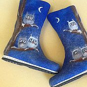 """Обувь ручной работы. Ярмарка Мастеров - ручная работа Валенки """"Совы"""". Handmade."""