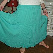 Одежда ручной работы. Ярмарка Мастеров - ручная работа бирюзовая юбка  из  марлевки. Handmade.