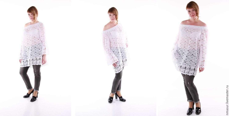 Белая блузка с открытыми плечами купить