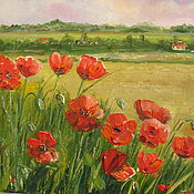 """Картины ручной работы. Ярмарка Мастеров - ручная работа Картина цветы маслом, """"Маки в поле"""" на холсте. Handmade."""