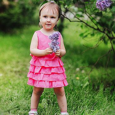 Работы для детей, ручной работы. Ярмарка Мастеров - ручная работа Детское платье нарядное летнее с рюшами для девочки. Handmade.