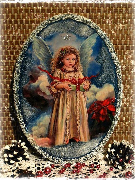 """Новый год 2017 ручной работы. Ярмарка Мастеров - ручная работа. Купить Панно """"Рождественский Ангел"""". Handmade. Комбинированный, панно"""