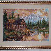 Картины и панно ручной работы. Ярмарка Мастеров - ручная работа Вышитая картина``Вечер в горах``. Handmade.