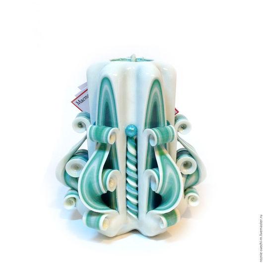 Свечи ручной работы. Ярмарка Мастеров - ручная работа. Купить Резная свеча Бирюза на белом (арт.106). Handmade.