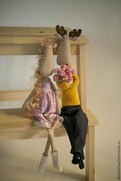 """Куклы Тильды ручной работы. Ярмарка Мастеров - ручная работа. Купить Тильда лось """"Сладкая парочка"""". Handmade. Желтый"""