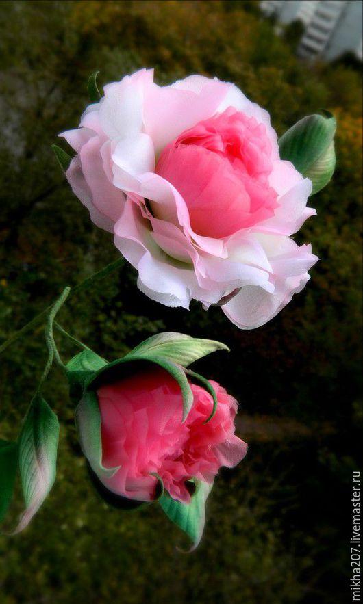 """Цветы ручной работы. Ярмарка Мастеров - ручная работа. Купить Интерьерная роза """"Laura"""" из японского шелка.. Handmade. Бледно-розовый"""