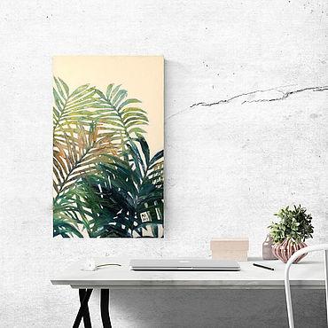Картины и панно ручной работы. Ярмарка Мастеров - ручная работа Интерьерная картина на холсте Листья (зеленый, изумрудный, пальма). Handmade.