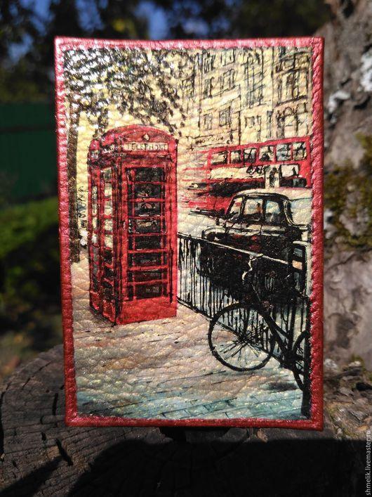 Обложки ручной работы. Ярмарка Мастеров - ручная работа. Купить Обложка на карту - Лондон. Handmade. Обложка на документы, обложка из кожи