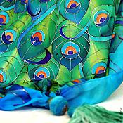 """Аксессуары ручной работы. Ярмарка Мастеров - ручная работа Батик шарф """"Павы"""". Handmade."""