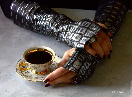 """Варежки, митенки, перчатки ручной работы. Ярмарка Мастеров - ручная работа. Купить Митенки из натуральной кожи """"Вечерний кофе."""". Handmade."""