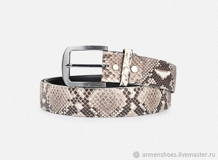 Belt made of Python leather in natural color!, Straps, Tosno,  Фото №1